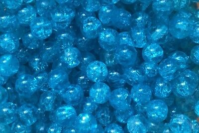 300 X Coloured Glass Round Crackle Jewellery Beads - 8mm - Blue Aqua Ocean