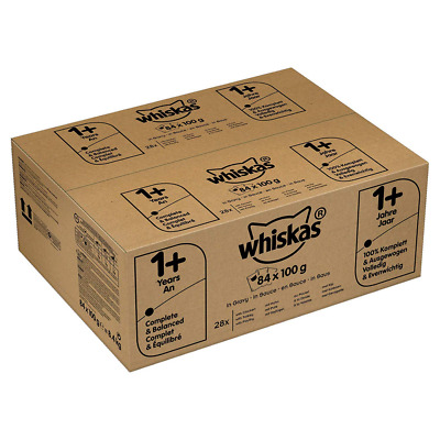 whiskas 1+ Wet Cat Food, Mixed Selection in Gravy, 84 Pouches (84 x 100 g)