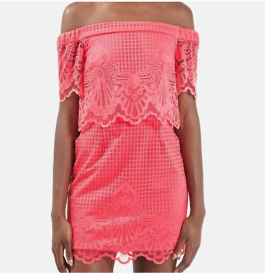 New Topshop Womens Size 2 Dress Off The Shoulder Lace Overlay Coral Pink $90