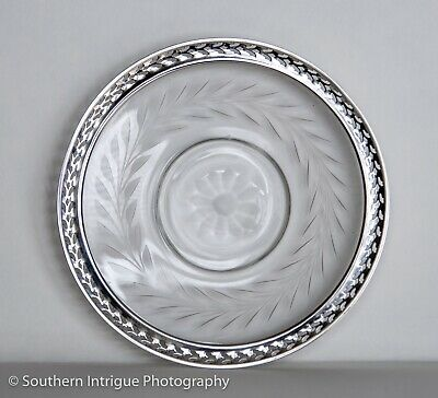 Webster Etched Glass and Sterling Silver Rimmed Lemon Plate or Dish  5 1/8""