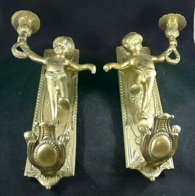 Pair of Vintage Brass Cherub Wall Sconces