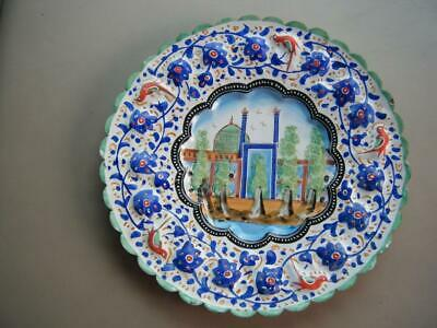 Vintage Folk Art ENAMEL Over COPPER Collector Plate Wall Hanger