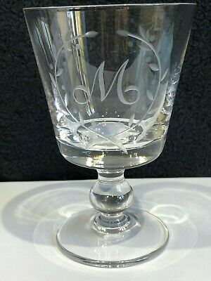 Stuart Crystal Goblet, Etched Initial M Signed , 12.5 cm Tall