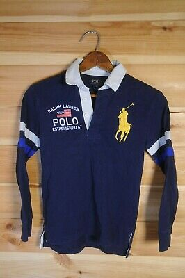 Boy's Ralph Lauren Polo Long Sleeved Rugby Polo Shirt Small Age 8