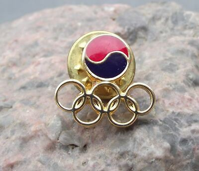 1988 Seoul Summer Olympic Games Official Rings Logo South Korea Tie Pin Badge