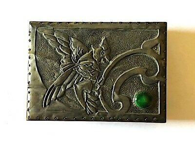 Unusual Arts & Crafts hand made box with pewter & enamel fairy bird decoration