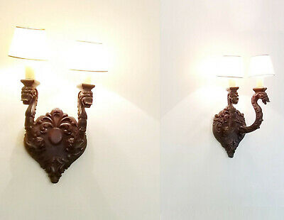PAIR of ANTIQUE GOTHIC CARVED WOOD DOUBLE DRAGON SCONCE