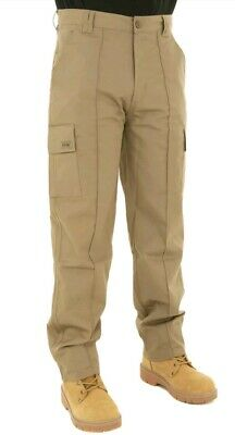 Mens Cargo Combat Work Trousers Size 34 Long Khaki By SITE KING / 02