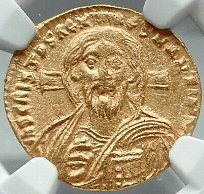 JUSTINIAN II 1st JESUS CHRIST Portrait Ancient Byzantine Original Gold Coin NGC