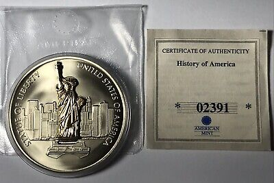 American Mint-History of America-FREEDOM & DEMOCRACY 3-D Statue Of Liberty Coin