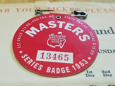 1963 MASTERS AUGUSTA NATIONAL GOLF CLUB BADGE TICKET Players List JACK NICKLAUS
