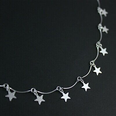 GENUINE 925 Sterling Silver Drop Star Charm Bar Chain Choker Necklace UK New