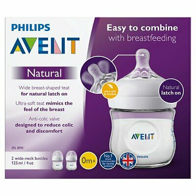 NEW Philips Avent Natural Anti Colic Baby Feeding Bottles 2 x 125ml From Birth