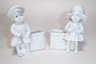 Art Deco Vintage 1930s Cute Boy & Girl Tennis Players Bisque Spill Vases Attwell