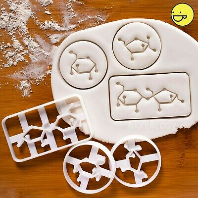 Set of 3 Sugar Molecule cookie cutters | Sucrose Fructose Glucose sweet science