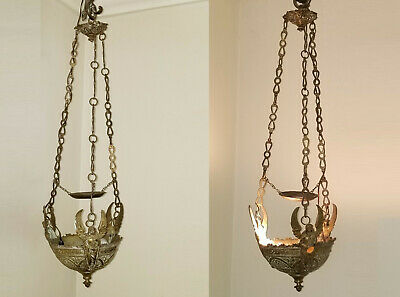 PAIR of ANTIQUE 18c. BRASS GOTHIC HANGING SANCTUARY LAMP WITH 3 ANGELS