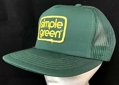 01f2795b6f5b8 Vtg 80s Mesh Trucker Hat Snapback Patch Cap Simple Green Cleaning Products  Logo