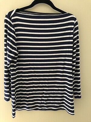 Old Navy Womens LT Large Tall Pink White Stripe Modal Stretch V-Neck Shirt Top