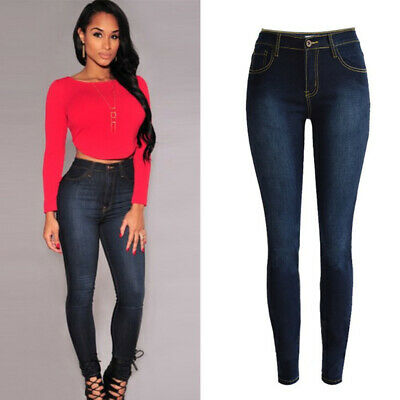 Womens Jeggings Fit Denim Jeans High Waist Stretch Pencil Pants Skinny Trousers