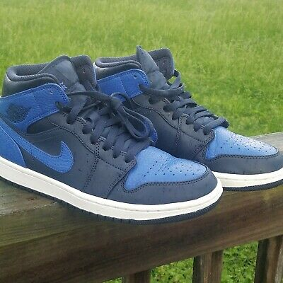 7cbc5dc8863a88 NIKE AIR JORDAN 1 MID RETRO Obsidian  Game Royal -Black Blue 554724-412