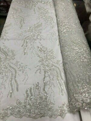 """1 yard white embroidered scalloped tulle with floral design 59x 7/"""" 67x7/"""" 53x7/""""."""