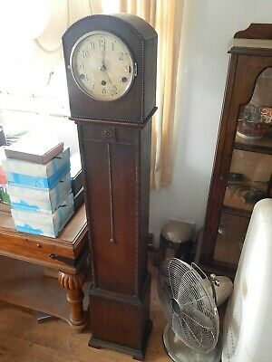 Grandaughter clock,Art Deco oak case,good working order,Westminster chimes