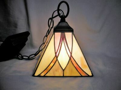 QUOIZEL Stained Glass HANGING LAMP Arts Crafts Tiffany Style Square Leaded Panel