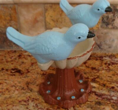 Cast Iron Painted Blue Birds on Garden Water Fountain Doorstop ? Candle holder ?