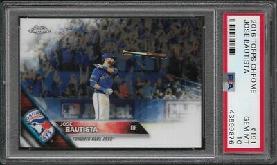 2016 Topps Chrome # 96 JOSE BAUTISTA Gem Mint PSA 10 Toronto Blue Jays Bat Flip