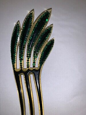Vintage Antique Celluloid Hair Comb Accessory Green  Rhinestones Very Art Deco