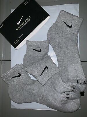 676aefb70ab5d9 Nike Tech 8-12 Performance Dri Fit Cushioned Quarter Ankle Socks 3-Pk New