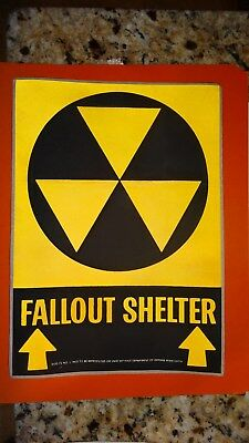Fallout Shelter Sign Sticker Eames Era Atomic Bomb Red Scare Very Cool
