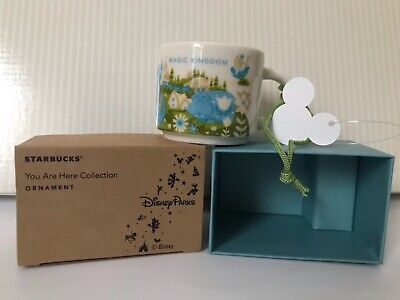 "New Disney World Parks Starbucks Magic Kingdom 2"" Mug Ornament YOU ARE HERE"