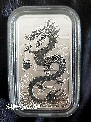 2018 Dragon 1oz Silver Coin Bar Bullion Rectangle comes with CAPSULE  Perth Mint