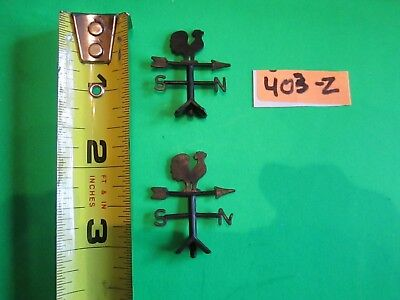 Pair of Ohio Arts Vintage 60's Weather Vanes in Black w/Double Roosters! #403-Z