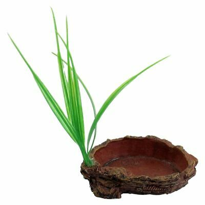 Brick Red Oval Shaped Resin Tank Reptiles Dish Bowl with Grass C9G2) 1C