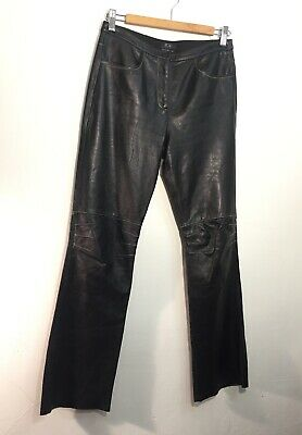 b0a0bad76 Bcbg Black Buttery Leather Cropped Ankle Bootcut Mid rise Pants Vintage Size  4