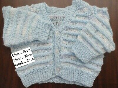 Hand Knitted Baby  Cardigan In Blue ..Chest :46 Cm
