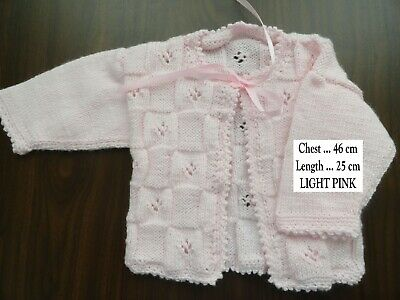 Hand Knitted Baby Matinee Jacket In Light Pink ..Chest : 46 Cm