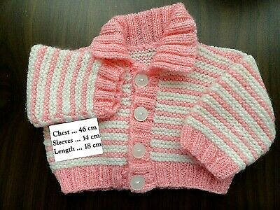 Hand Knitted Baby Cardigan In Pink & White..chest : 46 Cm
