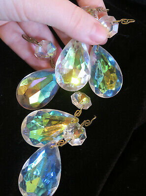 5 Vintage Peacock AB Aurora Borealis glass Crystal Prisms Lamp Chandelier Parts