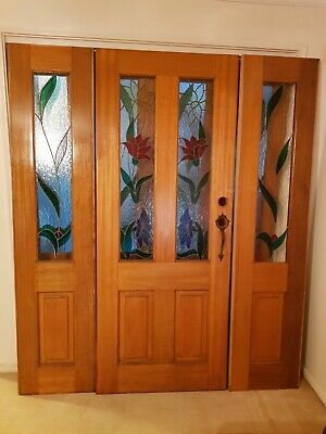 Solid Timber Entrance Door Set Stained Glass 3 Piece
