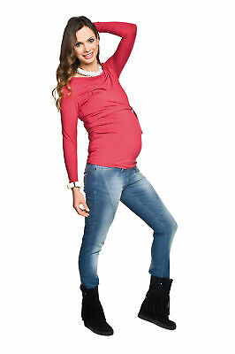 Over Bump Pregnancy Adjustable Stretch Blue Faded Slim Skinny Maternity Jeans