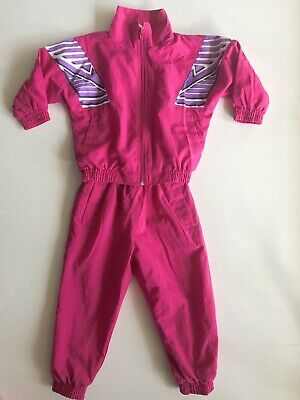 Vintage 80's Girls Sports Tracksuit Parachute Pink Purple Size 2 SET