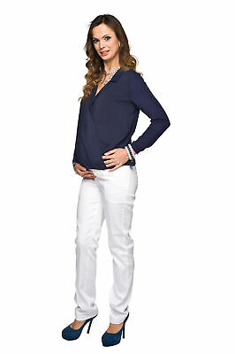 New Over Bump Pregnancy Adjustable Stretch White Maternity Trousers