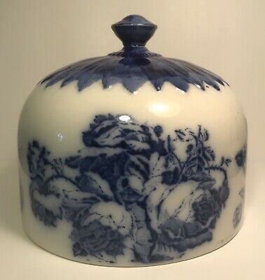 Antique Victorian Staffordshire Pottery~Ironstone~Cheese Dome~Blue  White Floral