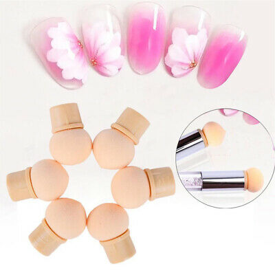 Manicure Tool Draw Reusable Sponge Head Gradient Colorful Brush Replaceable 6pcs