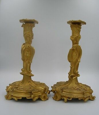 Vintage 2 Rococo Revival French Ormolu Candlesticks butterfly, shell feet 31cm