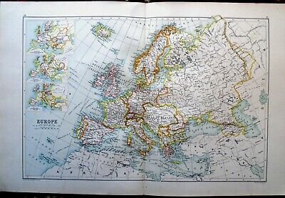 Antique MAP ~ EUROPE EUROPEAN ~ John Bartholomew c1892 Edinburgh Geographical