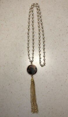 "NEW Faux Tortoise Shell Pendant w Gold Tassel on 22"" Gold Pearl Chain Necklace"